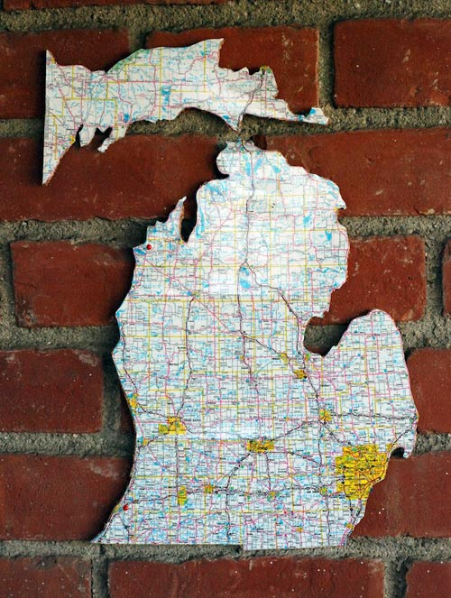 Made from a Map: Recycled Road Map Cork Board